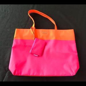 "17""x13"" nylon tote (hot pink and orange)"